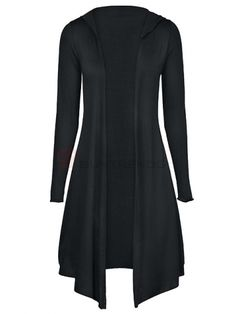 Boutique Pure Color Long Sleeve Tie Waist Trendy Irregular Oversize Cotton Tops Black on buytrends.com