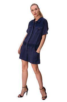 efadc11dfc64 DIESEL Short Jumpsuit Size M Contrast Yoke Popper Front R-JSADE RLAKU RRP  €220