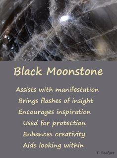 Black Moonstone Minerals And Gemstones, Crystals Minerals, Black Crystals, Stones And Crystals, Gemstone Properties, Black Moonstone, Healing Stones, Healing Crystals, Crystal Magic
