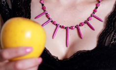 Purple Skulls & Spikes Necklace and Earrings Set by TheContraryDame on Etsy