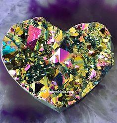 Rainbow Aura Titanium Quartz Gemstone Heart #aura #crystals #rainbow #chakrabalancing