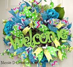 Mothers Day Wreath Spring Summer Green Welcome by NicoleDCreations