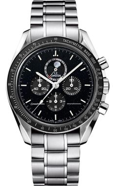 New Omega Speedmaster Moon Watch 311.30.44.32.01.001 Steel Watch Black Dial Caliber 1866 Manual Movement