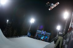 His hair flowing in the wind, his pants hugging his thighs making him more aero dynamic... Shaun White couldn't stand out anymore than he already does in the pipe. Gnarly air. PHOTO: Aaron Blatt | Get Ready for the 2013 Winter X Games: Superpipe | TransWorld SNOWboarding