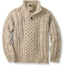I love pictures of guys in sweaters like this - but do you know any guys who wear heavy sweaters like this? Heritage Sweater, Irish Fisherman's Button-Mock: Henleys and Zip-Necks Sharp Dressed Man, Well Dressed Men, Type Of Pants, Cable Knit Sweaters, Irish Sweaters, Pulls, Men Dress, Knitwear, Winter Fashion