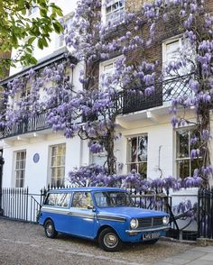 """Chelsea, London.......Quite possibly the prettiest little scene in London right now. That blue car with the wisteria! …"""""""