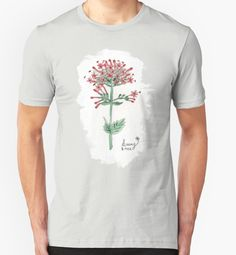 """""""Red Valerian Flower - Watercolors"""" T-Shirts & Hoodies by Lidra 