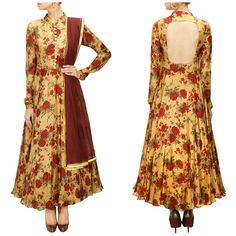 Gold and red silk anarkali in floral print with front button placket and cut-out detail at back - S2 - Rs. 4300.00