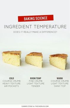 Does Ingredient Temperature Matter is part of Cake recipes - Does the temperature of your ingredients matter An experiment to see if room temperature ingredients truly create a better cake! Baking Basics, Baking Tips, Baking Recipes, Cake Recipes, Dessert Recipes, Baking Secrets, Bread Baking, Dinner Recipes, Baking Videos