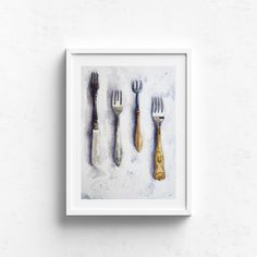 Four Forks – Claire Gunn - Watercolour Painting of four antique forks with ornate handles. Forks, Watercolour Painting, Claire, Original Artwork, Fine Art Prints, Antiques, Illustration, Artist, Image