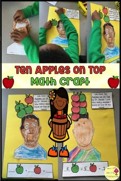 en Apples Up On Top: ELA & Math Craft. Great tie in to the Dr Seuss book. Students must complete the craft and generate an addition number sentence based on their craft. Good for fall activities or to use during the month of March for Dr Seuss' birthday! Dr Seuss Activities, Kindergarten Math Activities, Kindergarten Lesson Plans, Numeracy Activities, Dr Seuss Crafts, Math Crafts, First Grade Crafts, Math Work, Second Grade Math