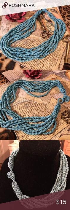 "Necklace Turquoise necklace. Multi-strand with beautiful woven and button like clasp. 8 strands of beautiful stone beads. Just a little larger than seed beads. 20"" Jewelry Necklaces"