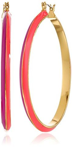 "Trina Turk ""The Explorer"" Gold Plated Pink Two Tone Enamel Hoop Earrings - http://www.sparklingheaven.com/trina-turk-jewelry/trina-turk-the-explorer-gold-plated-pink-two-tone-enamel-hoop-earrings/"