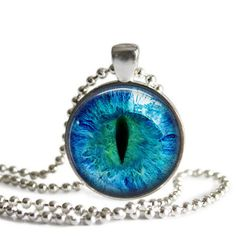 Silver Plated Pendant  Blue Eyeball by NowThatsCharming on Etsy, $14.99