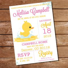 Pink Rubber Duck Baby Shower Invitation  Girl by SunshineParties