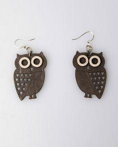 Green Tree Owl Wood Earrings - Brown - Punk.com