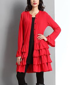 Look at this Red Tiered Ruffle Hem Cardigan on #zulily today!