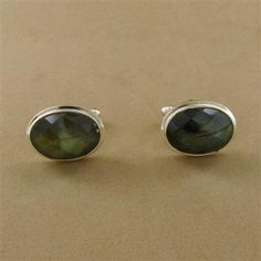 Sterling Silver Faceted Labradorite Oval Cufflinks - Fire & Ice