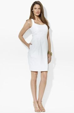 Lauren Ralph Lauren Basket Weave Cotton Sheath Dress available at #Nordstrom $169