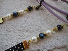 370111c0e7 Cordón para las gafas en azul con perlas, Precio:7€ // Cord for the glasses  in blue with pearls, Precio:7 € //