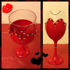 Evening Gown Hand Painted Wine Glass