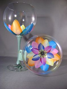 Kaleidoscope Ballon Red Wine Glass. $30.00, via Etsy.
