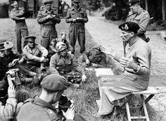 Field Marshal Bernard Montgomery speaking to war correspondents during his first press conference since the Normandy invasion at Port en Bessin during World War Two on 11th June 1944.