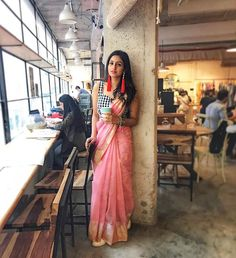 Werk it'// #sarinotsorry Repost @ekayabanaras ・・・ Stylist & fashion blogger Karishma Yadav (@pinktrunkk) is all chill while she sips her coffee. Just another day being #sarinotsorry - #ekayabanaras #ekayadiaries #ekayacrew