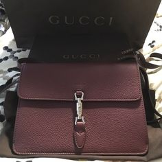 GUCCI Jackie Soft Convertible Wallet  Completely new and authentic. Bordeaux leather that's sold out everywhere. Removable and adjustable shoulder or crossbody strap. Comes with bag, gift box and dust bag. Gucci Bags Crossbody Bags