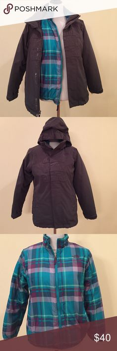 NORTH FACE Double Layer Coat North Face double layered coat.  Outer gray coat doubles as a windbreaker.  Zip in plaid coat can be worn zipped into gray coat, or on its own as a plaid puffer! North Face Jackets & Coats Puffers