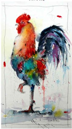 Gerard Hendriks why didn't the chicken cross the road?because it was a rooster. Watercolor Bird, Watercolor Animals, Watercolor Paintings, Watercolors, Watercolor Video, Watercolor Artists, Rooster Painting, Rooster Art, Arte Do Galo