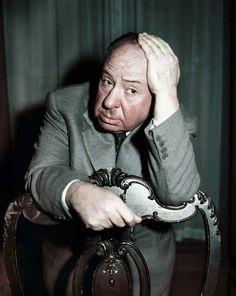 A rare colour photograph of a pensive Hitch.