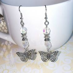 Only $6.29! - SALE Stacked 2 Tier Opalecent Crystal Clear a Faceted Round & Glass Teardrop Beaded Silvertone Beautiful Butterfly Charm Drop Earrings - Under $10 Earrings - FREE USA SHIPPING https://www.etsy.com/listing/386220598/sale-stacked-2-tier-opalecent-crystal