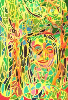Self-potrait, coloured pencil.  Saara Kartimo. HAMK Crafts and Recreation.