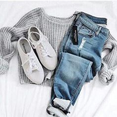 jeans jumpsuit shoes shirt grey long sleeves sweater grey sweater white shoes casual top tumblr tumblr outfit cute outfits aesthetic fall outfits oversized sweater fall sweater tumblr sweater cropped sweater grey crop sweater gray crop sweater crop tops #ad