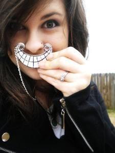 Original Tim Burton Style Cheshire Cat Smile Necklace - Alice in Wonderland