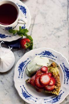 Sweetly Herbed Matzah Brei with Strawberry in Rhubarb Sauce, Tarragon Cream - Princess Tofu