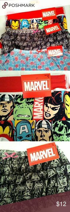 3 Pairs of Marvel Panties Bundle NWT 3 pairs of New With Tags Marvel Undies. 2 ruffled hipsters, 1 pair of boy shorts. Capitan America, The Hulk, Thor, Iron Man. Perfect way to show off you geeky sexy side! Hot Topic  Intimates & Sleepwear Panties