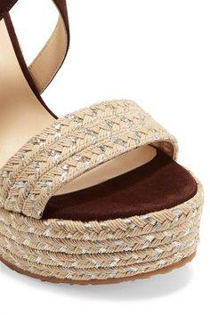 Jimmy Choo - Portia Suede Wedge Sandals - Brown - IT35.5