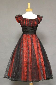 Red & Black lace cocktail dress ~ 1950's