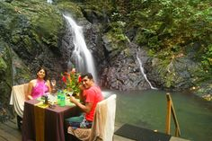 A completely customized private waterfall lunch... Experience the best of Fiji with CustomHolidays!  Customize your Fiji holiday at - Email: info@customholidays.in | Call: +91-976-925-4704  #Fiji #Lunch #Date #Honeymoon #Waterfall #Custom Holidays #Holiday #Tourism