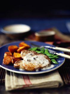 Two Step Mushroom Pork Chops with Sweet Potatoes