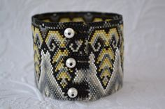 Peyote Bracelet Art Deco Peyote Bracelet Beaded by corporateschmad, $70.00