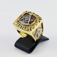 Items similar to Masonic Custom Made Blue Stone Past Master Ring Unique, Gold Pld, Templar ring on Etsy Freemason Ring, Unique Rings, Unique Jewelry, Freemasonry, Custom Made, 18k Gold, Jewels, Stone, Handmade Gifts