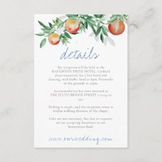 Summer Orchard Details Enclosure Card Holiday Cards, Christmas Cards, Honeymoon Gifts, Summer Fruit, Christmas Card Holders, Rustic Design, Fireworks, Paper Texture, Summer Wedding