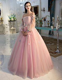 Formal Evening Dress Ball Gown Off-the-shoulder Floor-length Lace / Tulle with Flower(s) / Lace / Side Draping 5124919 2016 – $199.99