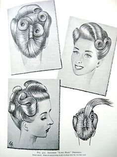 "Vintage Pin Up Hairstyles From ""The Art and Craft of Hairdressing"", 1958, originally published in 1931."