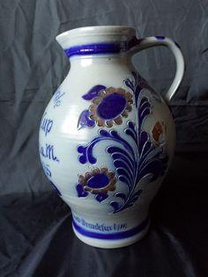 Rare Davis Cup 1985 Half finale's stoneware salt glazed cobalt blue Westerwald Germany pottery pitcher