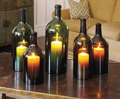 DIY Candle Hurricane From Wine Bottles