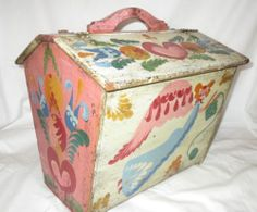 Hinged Wooden Box ~ Folk Art by Peter Hunt signed Anno 44 Ovince - another happy eBay find